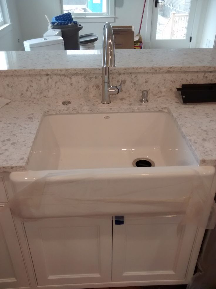 White Farm Sink With Zodiaq Quartz Snowdrift Counter Tops White Farm Sink Countertops Kohler Farm Sink