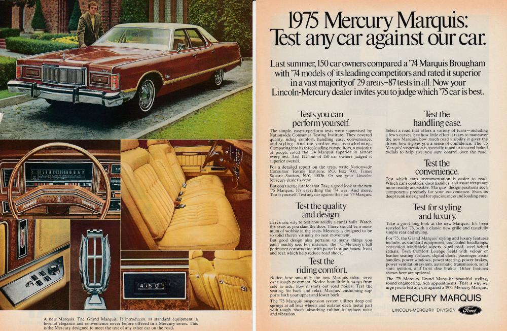 1975 mercury marquis introduction original 2 page magazine ad mercury marquis magazine ads mercury pinterest