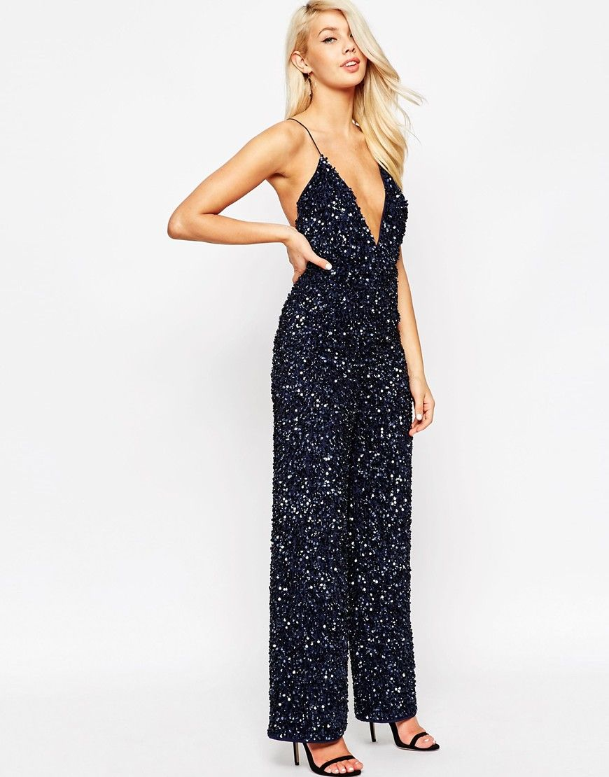 8960002fb9ad  200 Image 4 of ASOS Backless Jumpsuit with All Over Sequins