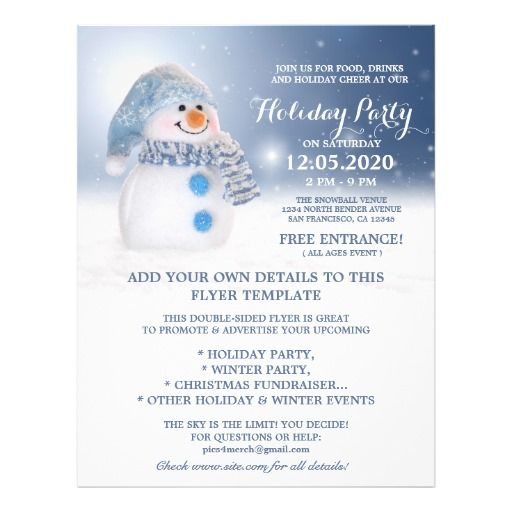Snowman Flyer Template Perfect For A Winter And Holiday Party