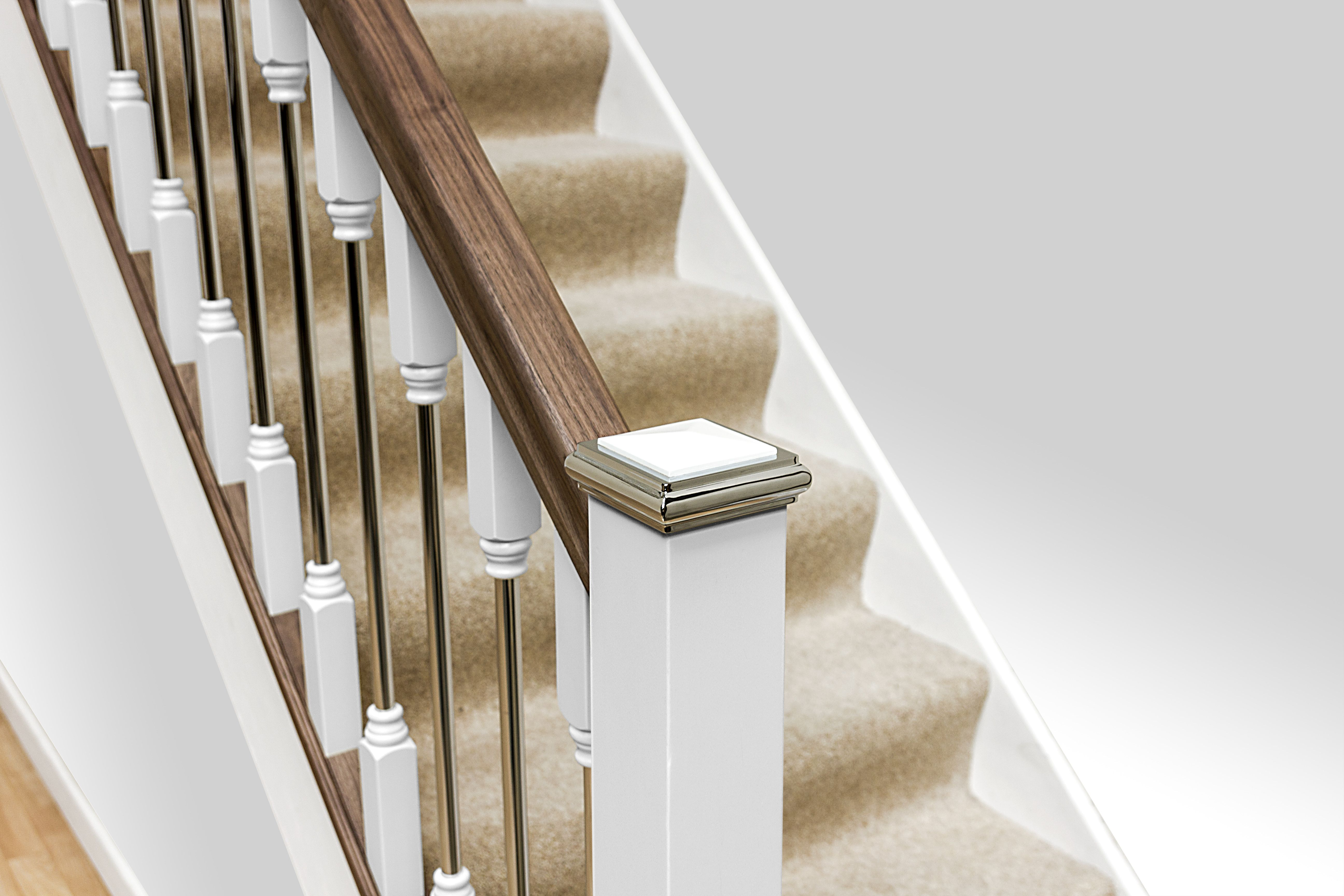 Best White Chrome Forge Spindles With Walnut Handrail 400 x 300