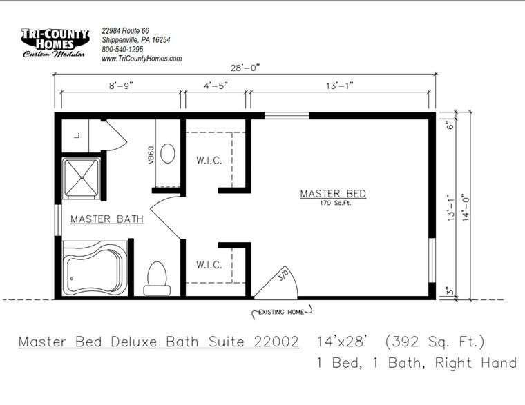 Master bedroom prefab home additions tri county homes for Master bedroom and bath plans