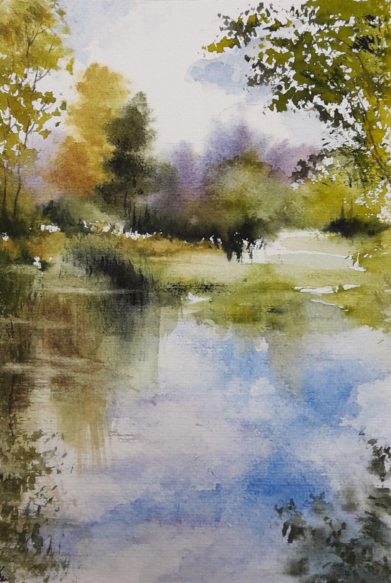 12 5x18cm Aquarelles Watercolors Abby Paysages Peinture