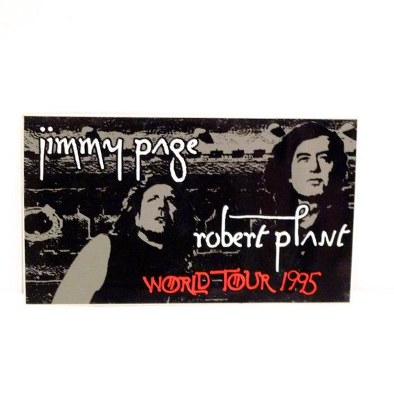 Jimmy page robert plant sticker vintage 1995 page and plant world tour sticker black and gray band sticker led zeppelin hard rock