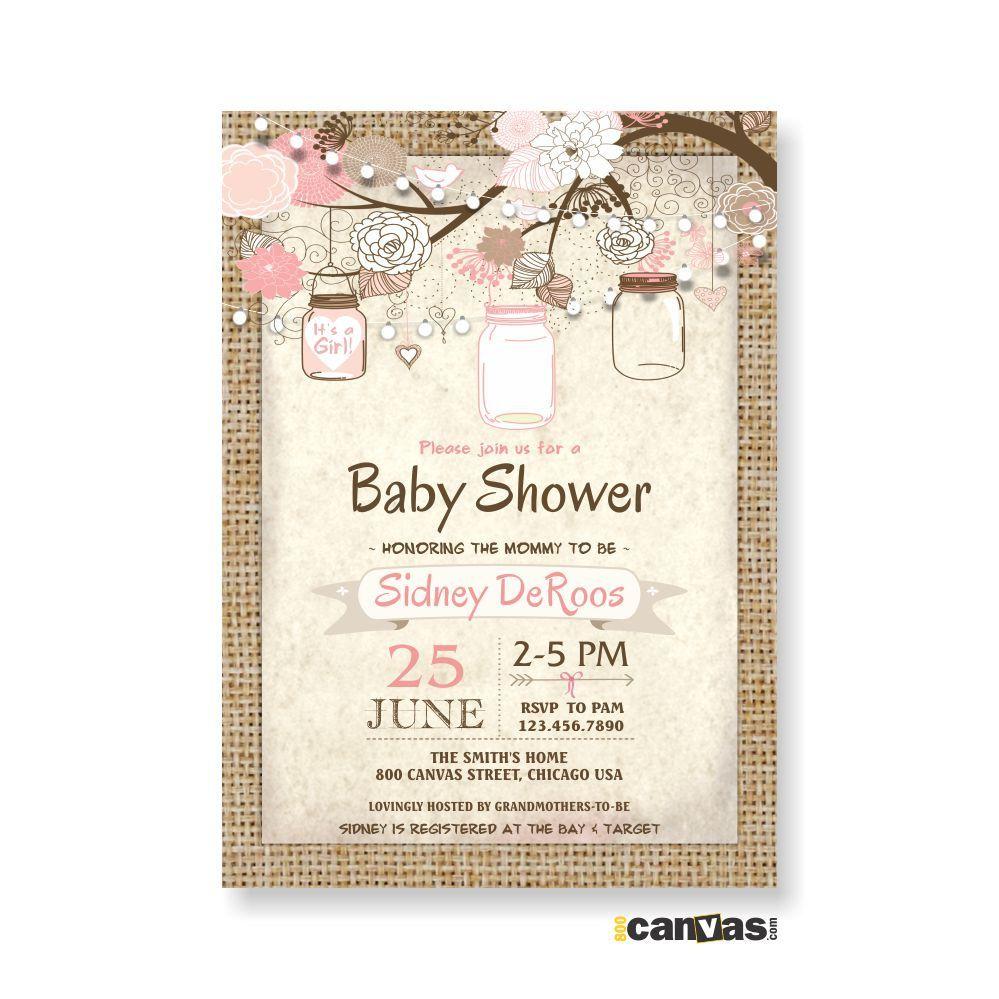 Burlap Rustic Baby Boy Shower Invitation, Mason Jar Baby Girl Shower ...