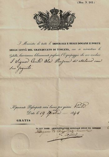 Passaporto del 1848 per entrare nel Granducato di Toscana e pure valido solo per venti giorni,concesso ad un milanese
