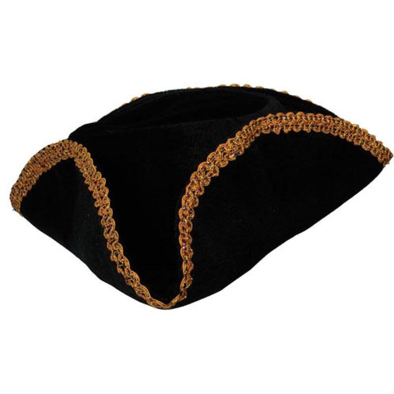 Adult Pirate Hat Black with Gold Braid Trim Fancy Dress Accessory #Wicked