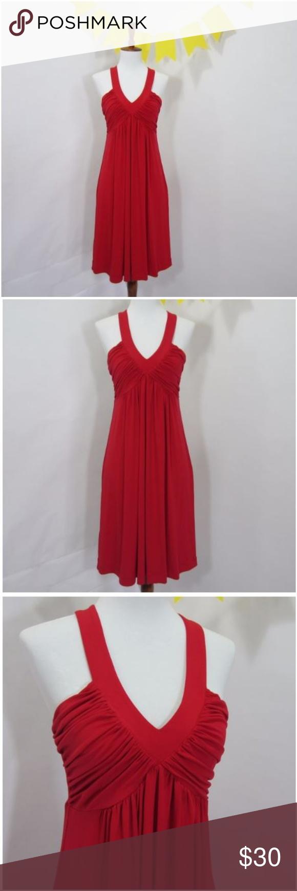 Calvin klein red halter empire waist dress c