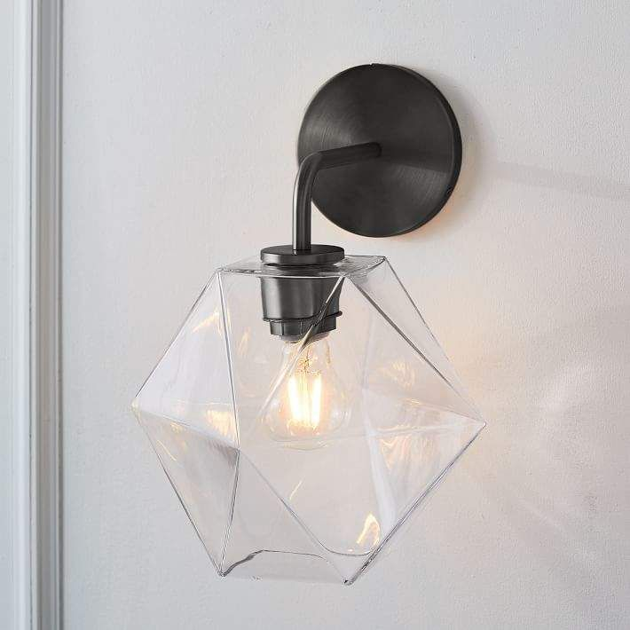 Photo of Sculptural glass faceted wall lamp – clear