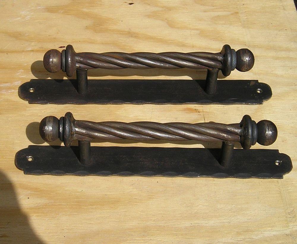 Pair (2) Hand forged wrought iron door pulls Handles   Door Handles ...