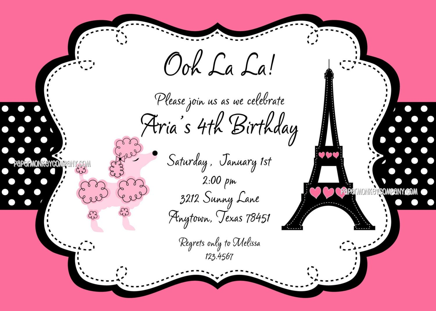Custom printed pink paris poodle themed birthday party invitations paris themed birthday party pink paris poodle themed birthday party invitations for any age filmwisefo