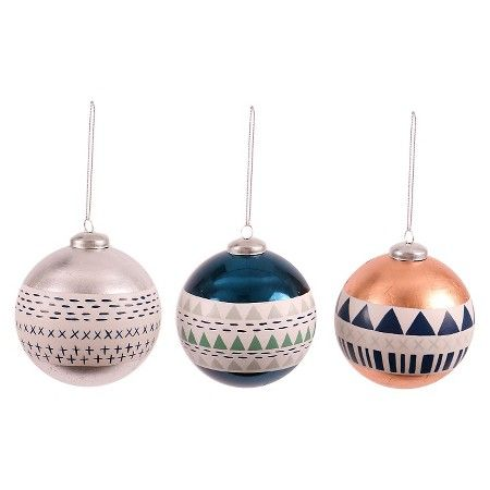 Winter Foiled Pattern Ball Christmas Ornament (Assorted Styles ...