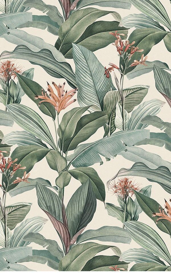 Tropical Chic Wallpaper | Peach & Green Design | MuralsWallpaper
