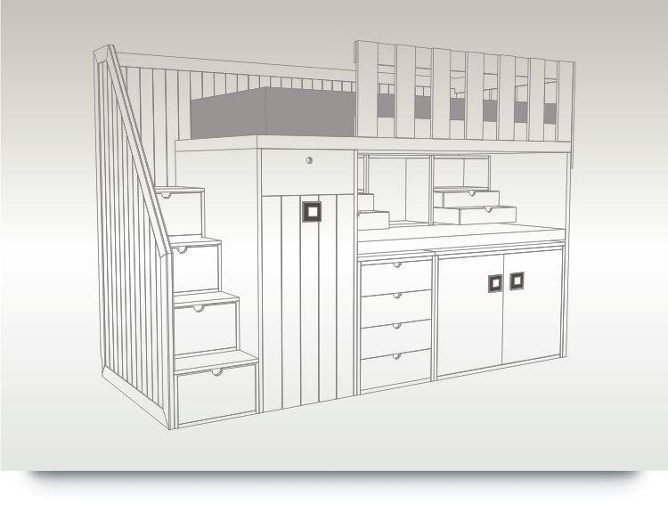 Litera de una cama con escalones con armario escritorio - Literas con armario ...