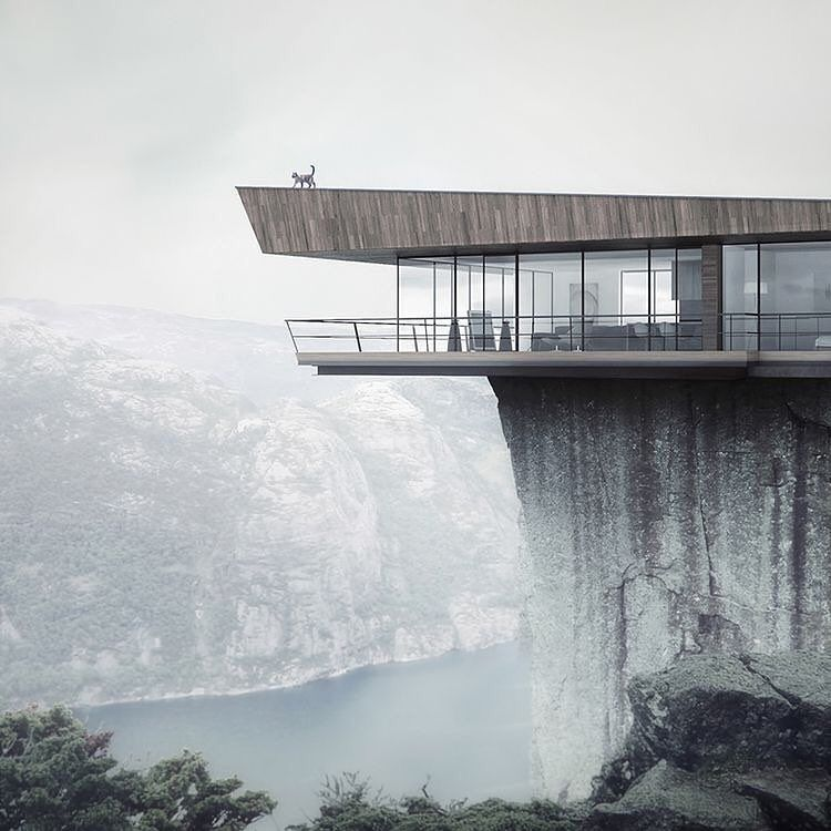 """The """"Wedge"""" Cliff House Gorgeous Minimalist House Hangs"""