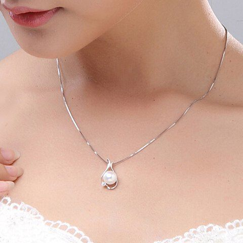 SHARE & Get it FREE | Stunning Rhinestone Faux Pearl Pendant Necklace For…