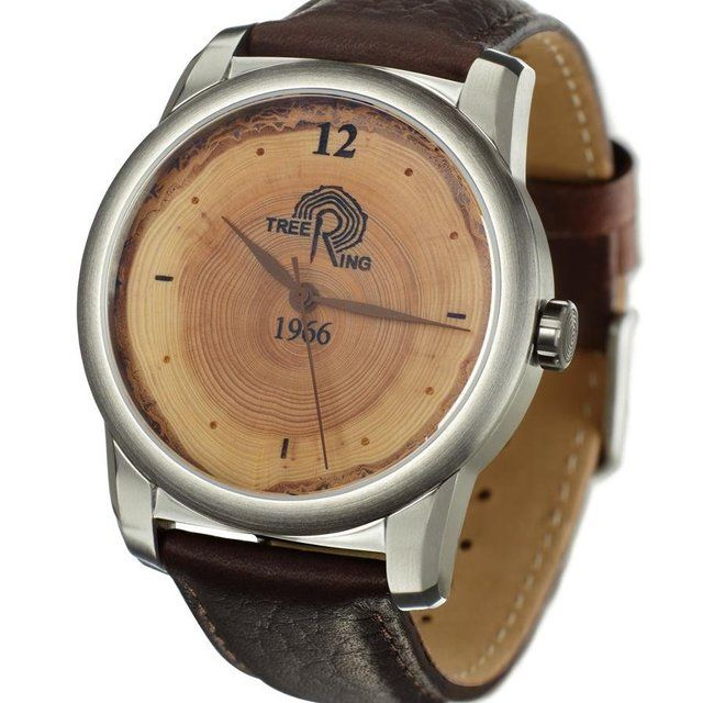 The Tree Ring Watch is made using a custom wood dial with an origin year of your choice. Match the watch origin year with your birth, anniversary, or other memorable year.