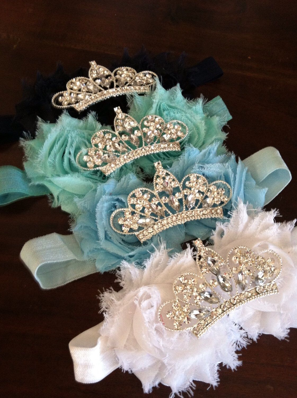Baby Crown headband, Flower Tiara, Rhinestone Baby Headband, Shabby Flower Headband, Tiara Headband #crownheadband