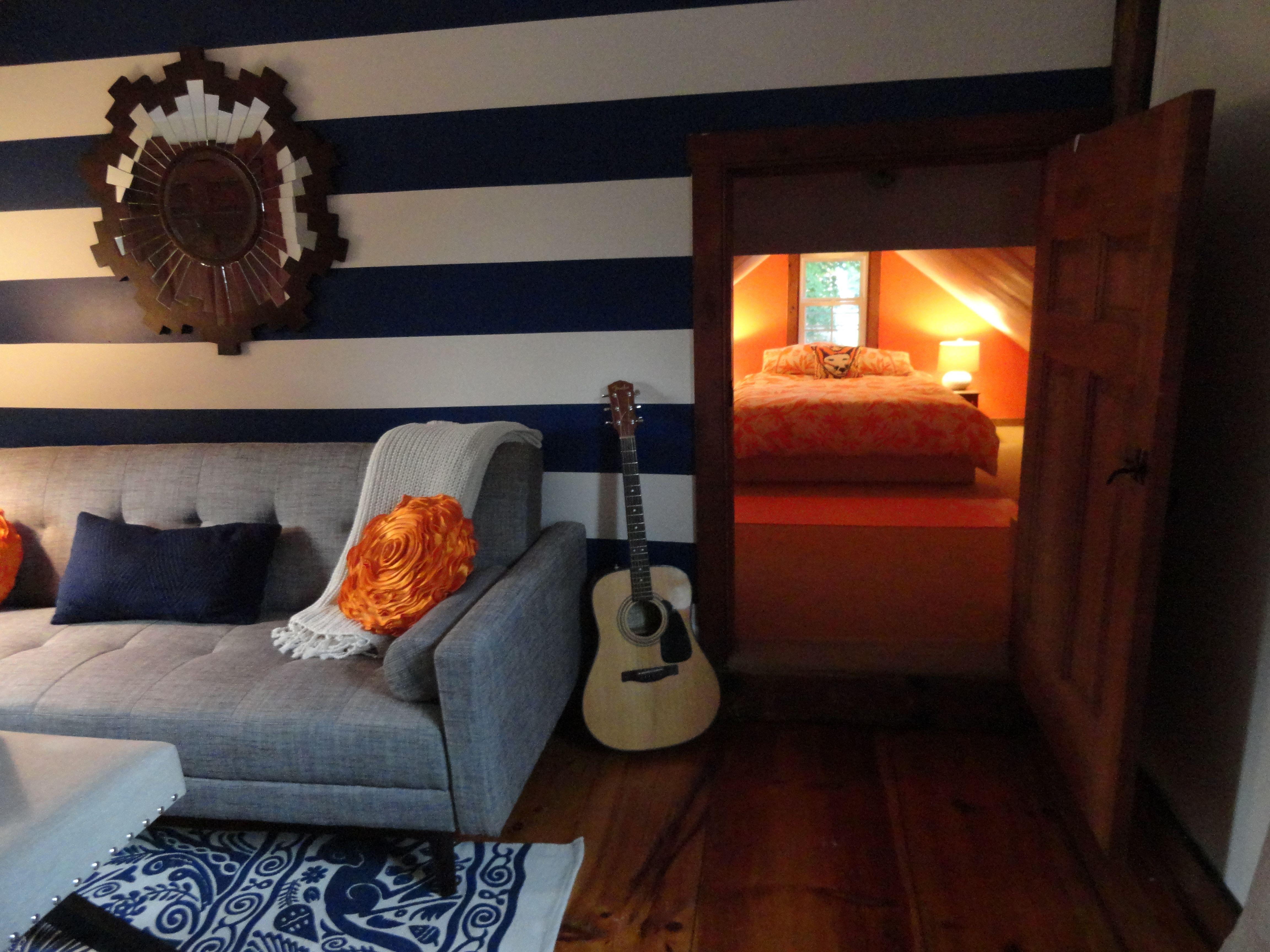 Best Mid Century Modern Bedroom Suite Navy Orange Brown 400 x 300