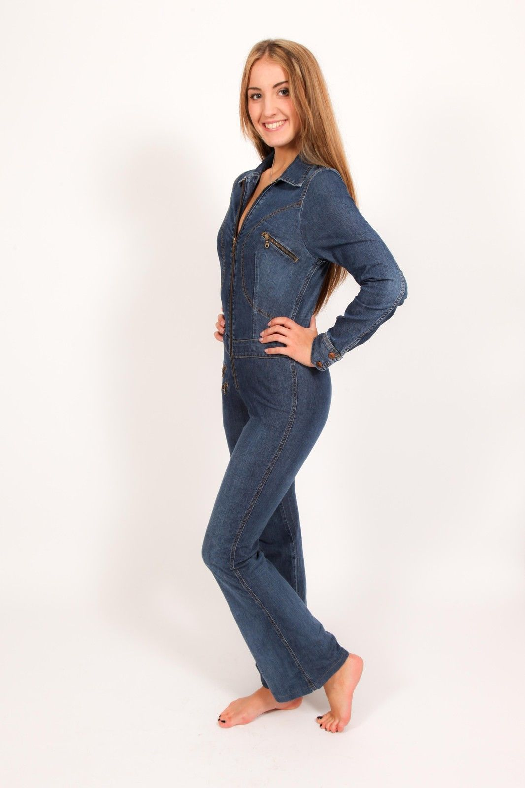 7ac52e18499c 70s vintage denim catsuit   denim jumpsuit size 28