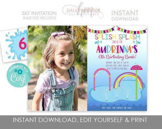 Girl Splash Pad Invitation, Water park birthday party invitation, summer pool party invitation, Splash birthday party invite EDITABLE FILE #summerpoolparties