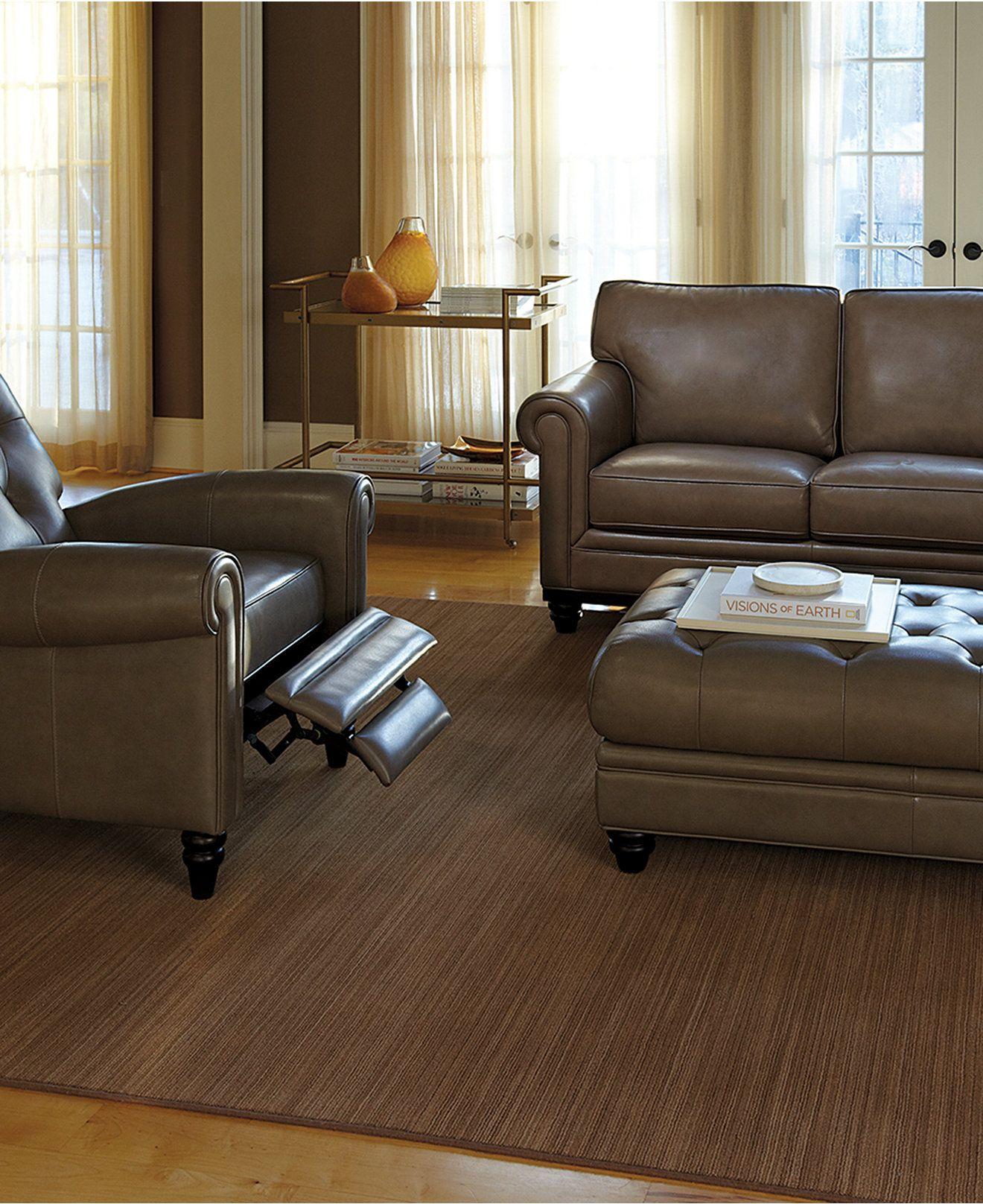 Martha Stewart Bradyn Leather Sofa Living Room Furniture Collection   Shop  All Living Room   Furniture