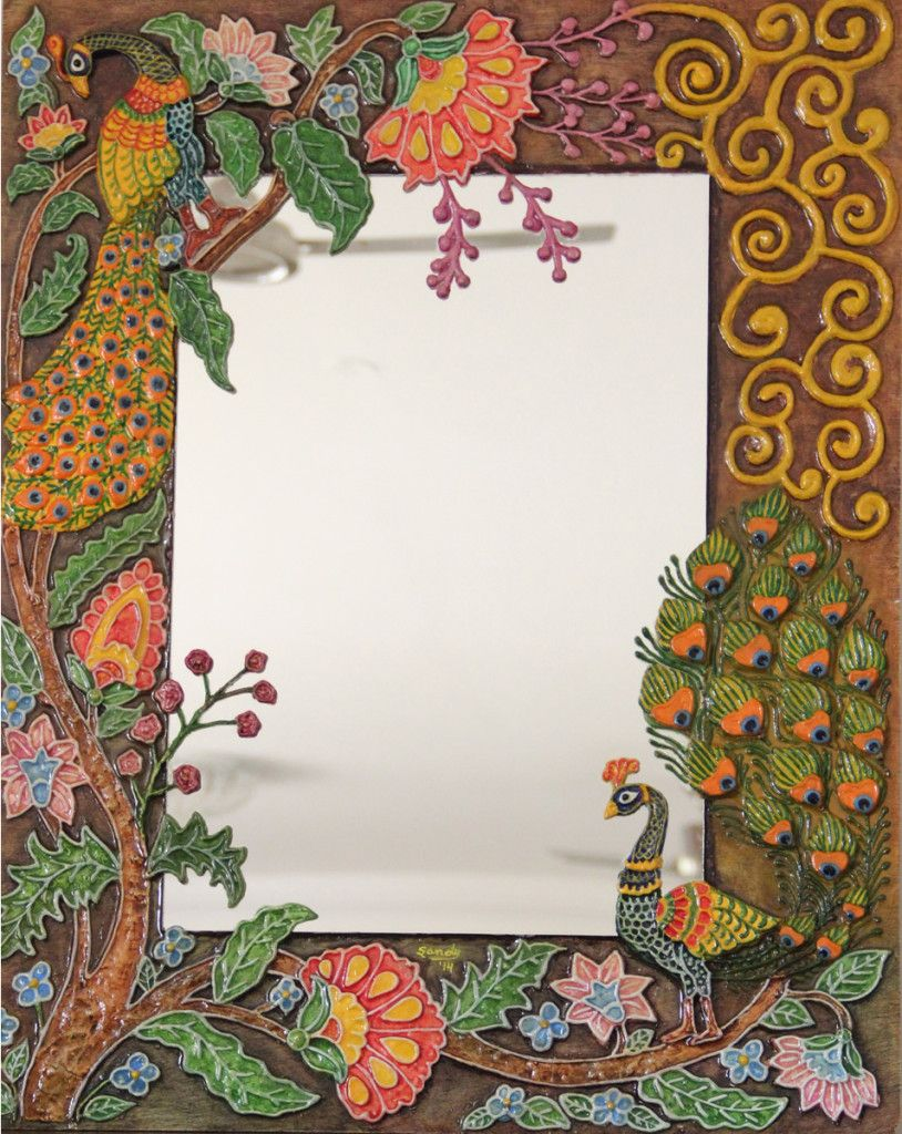 Peacock mirror relief work mural pinterest peacocks for Clay mural painting