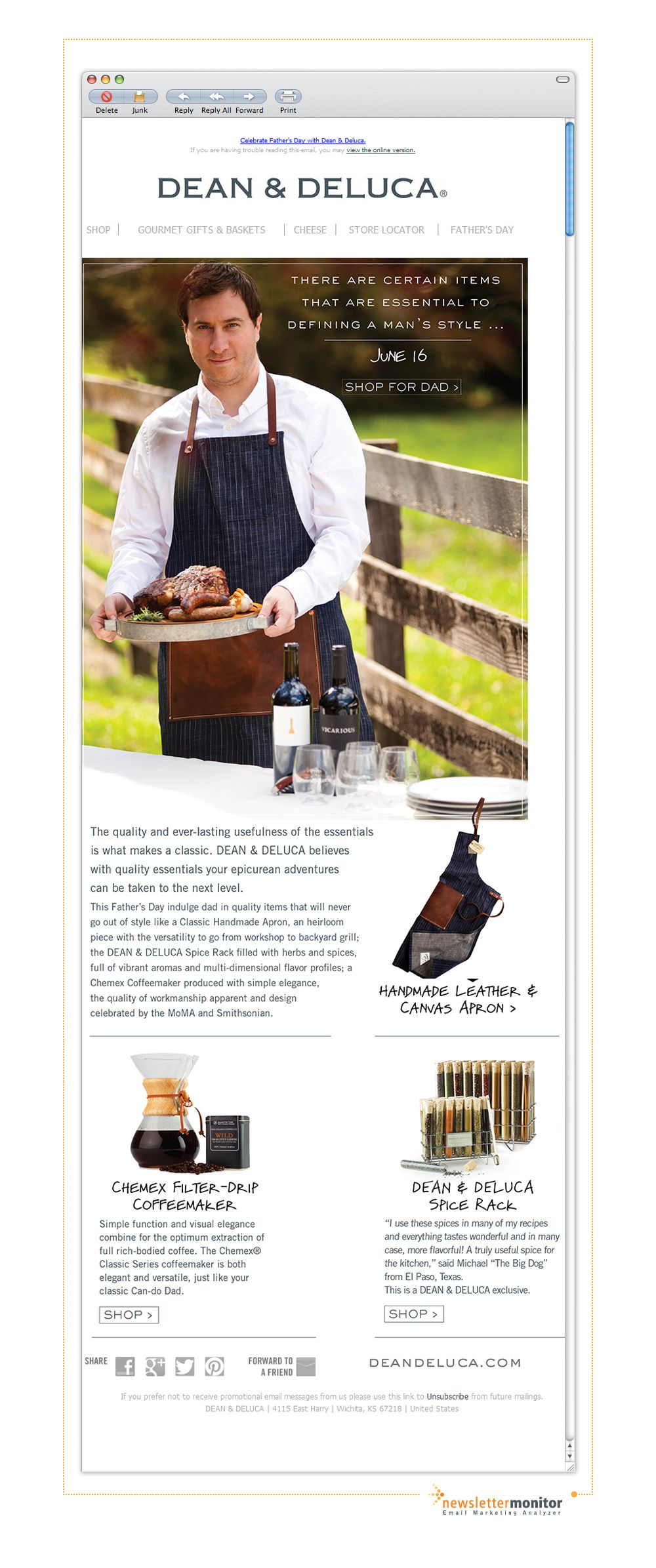 Brand: Dean & Deluca   Subject: Essentials of Good Taste for Father's Day: Classic Never Goes Out of Style