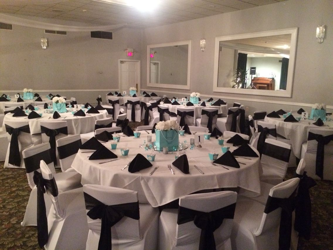 Blue and black wedding decor  Tiffany and co themed engagement party Black and Tiffany blue decor