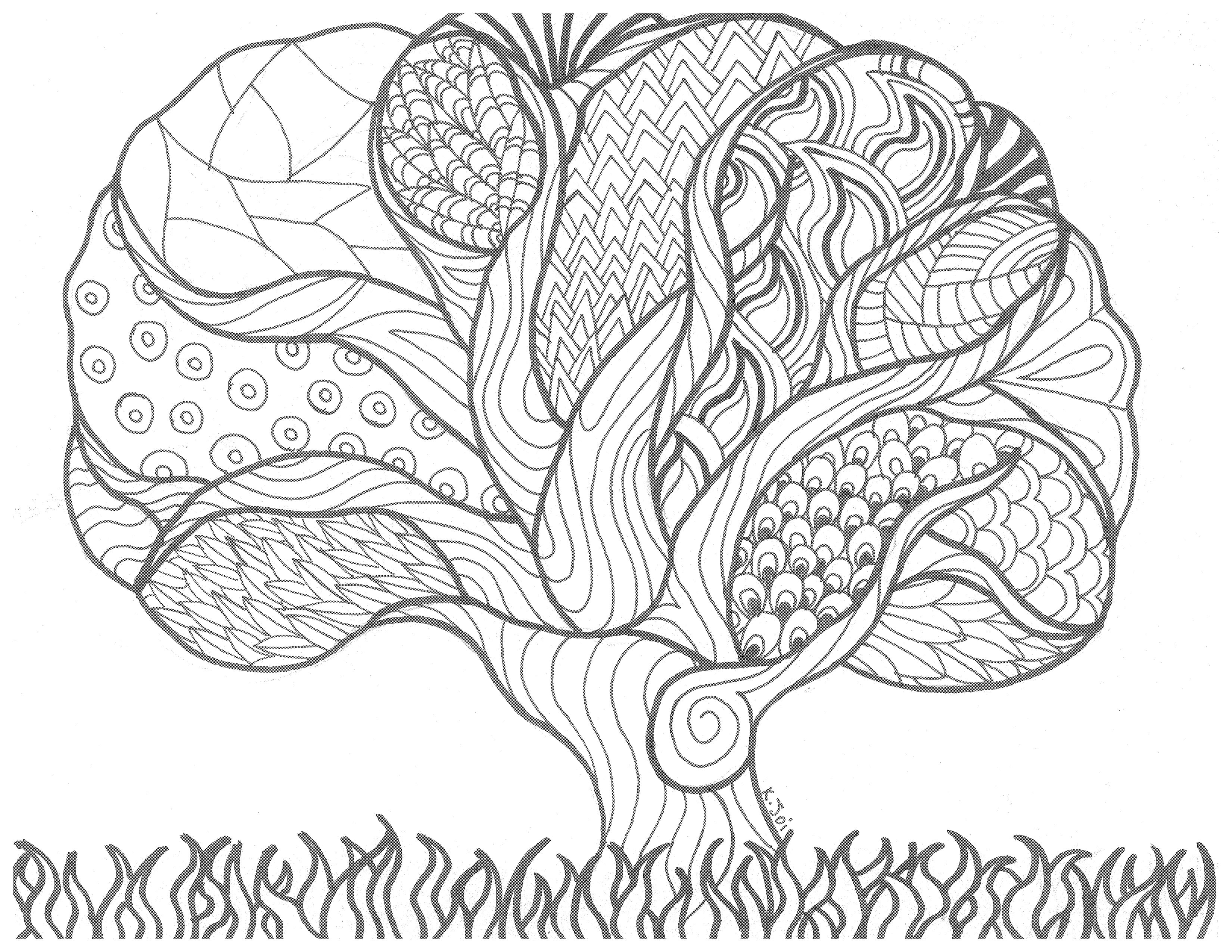 "Tree of Life"" Instantly Download this Coloring Page for art"