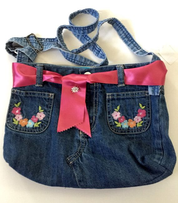 Retro Recycled Blue Jean Purse Hippie by jeanoligy on Etsy