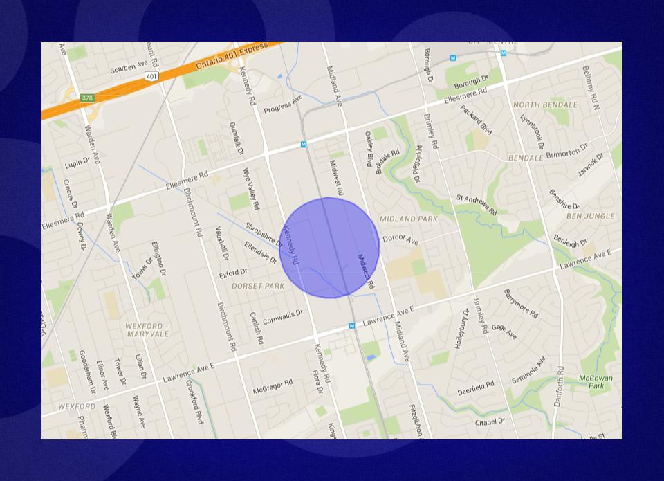 Blue radius circle as seen on a