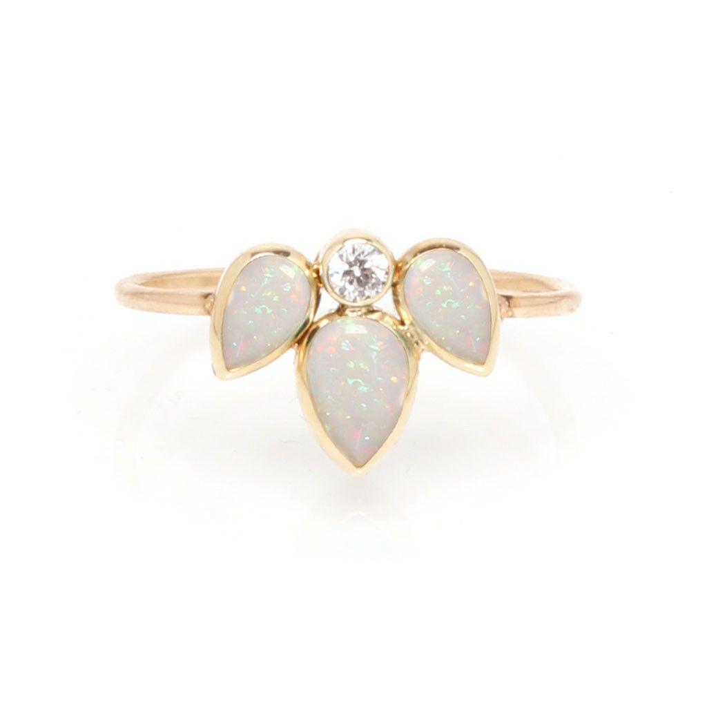 14k Opal & Sunburst Diamond Ring
