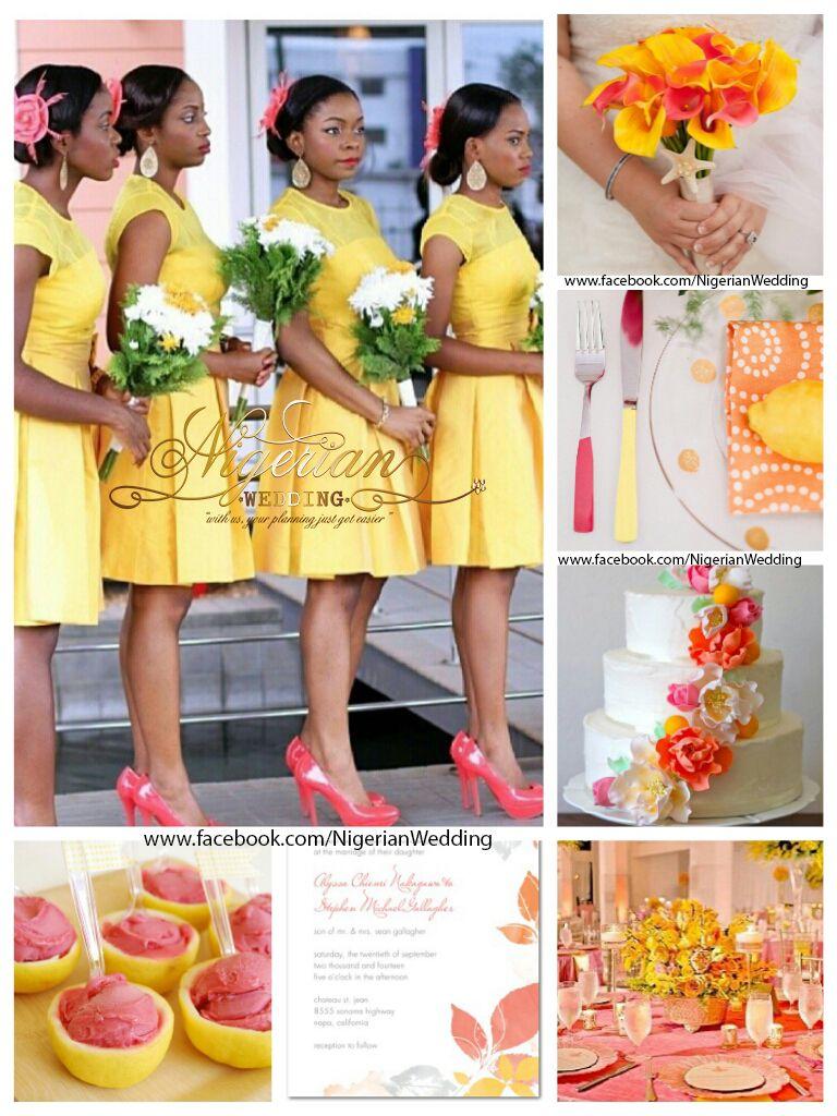 Coral Color Combinations Nigerian Wedding Yellow White Coral Wedding Color Schemes