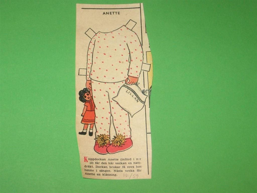 kläder klippdocka ANETTE HV 16 1959 på Tradera.com - Klippdockor |
