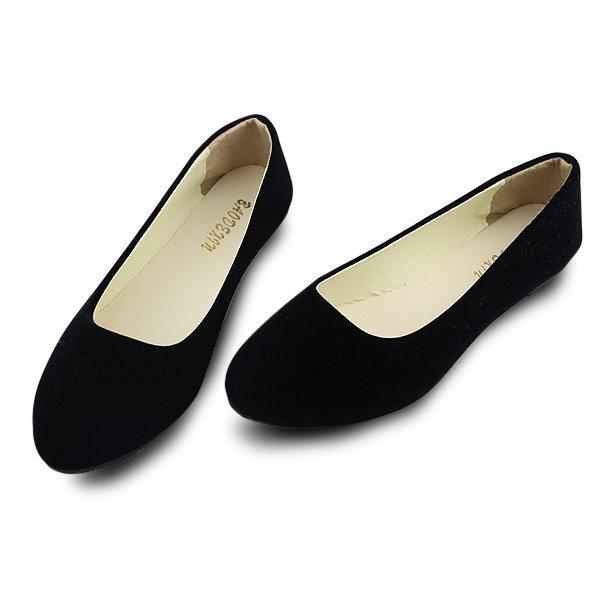 Grande Couleur Des Bonbons En Daim Taille Couleur Pure Bout Pointu Glissement De La Lumière Sur Les Chaussures Plates 1sqSP