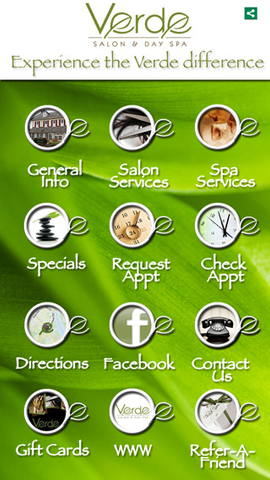 Stay connected with Verde Salon & Day Spa by downloading their mobile app for iphoe and ipad. Up-to-date salon information and appointment scheduling.
