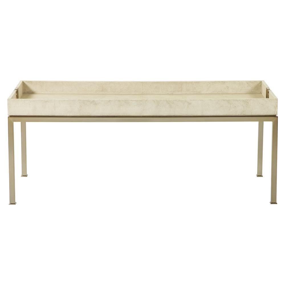 Oriana Ivory Faux Shagreen Tray Gold Coffee Table | Kathy Kuo Home