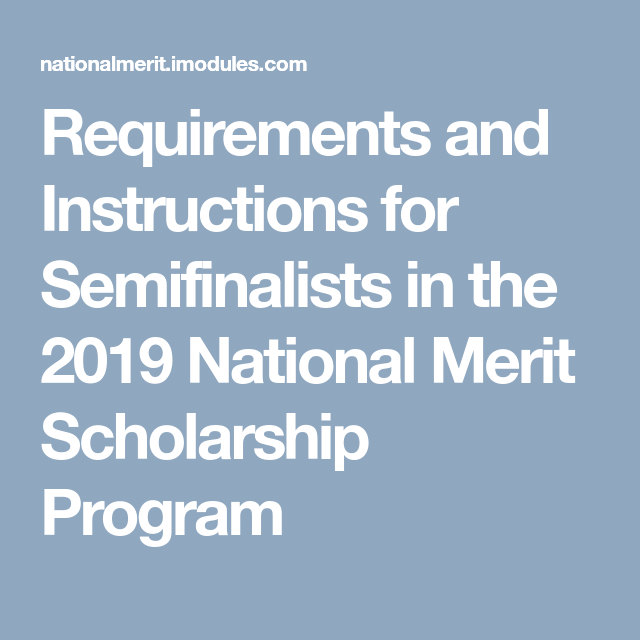 Requirements and Instructions for Semifinalists in the 2019 National