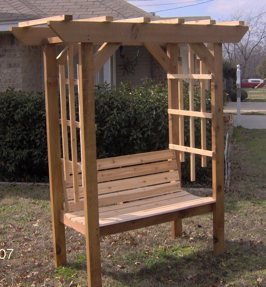 New cedar wood garden arbor with bench pergola arch for Timber garden arch designs