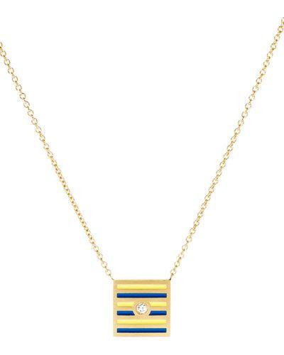K Kane Code Flag Square Diamond Pendant Necklace - N urCmY8fo5