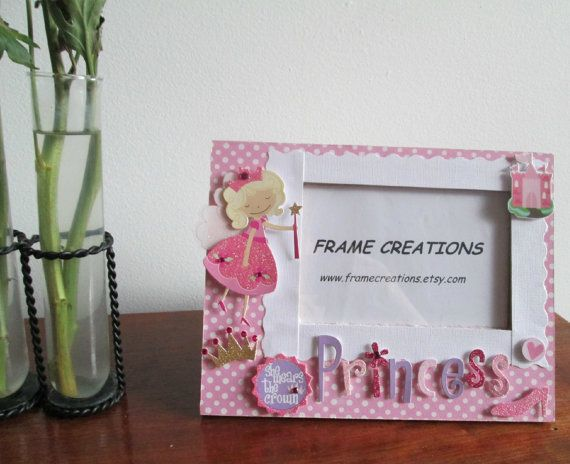 4x6 Princess Themed - Hand Decorated Picture Frame | Craft ideas ...