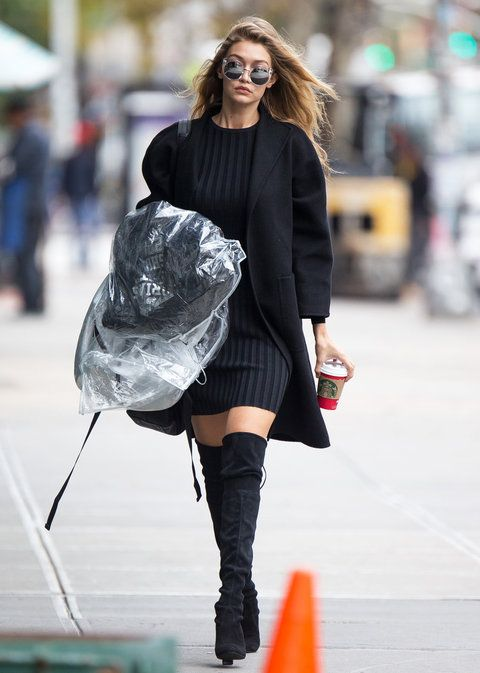 Rihanna Sweater Dress with Boots