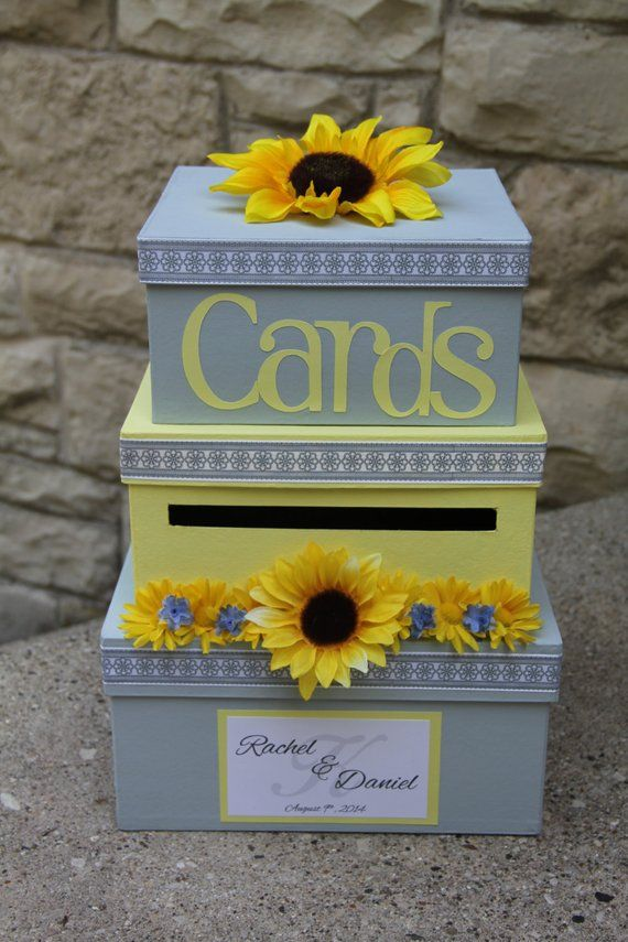 Yellow and Gray Wedding Card Box, 3 Tier Square, Card Holder, Cardbox, Yellow and Gray, Sunflowers, Wedding Decor