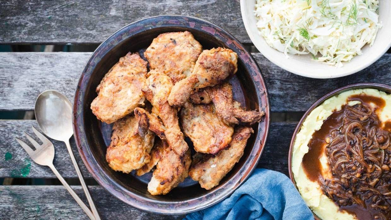 Recipe Crispy Buttermilk Chicken With Mash And Onion Gravy Stuff Co Nz Buttermilk Chicken Onion Gravy Recipes
