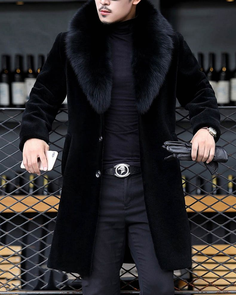 Mens Leather Trench Outwear Slim Fit Fur Collar Jacket Fashion Coat HOT Overcoat