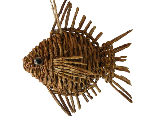 "Fish ornaments | ... , Butterflies & Fish :: 7.5"" Rattan Weave Fish Ornament *** SALE"