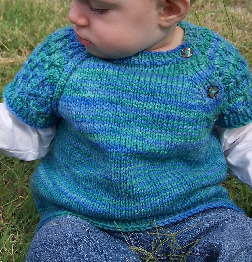 Free Knitting Pattern for Lace Sleeved Baby Pullover - This baby ...