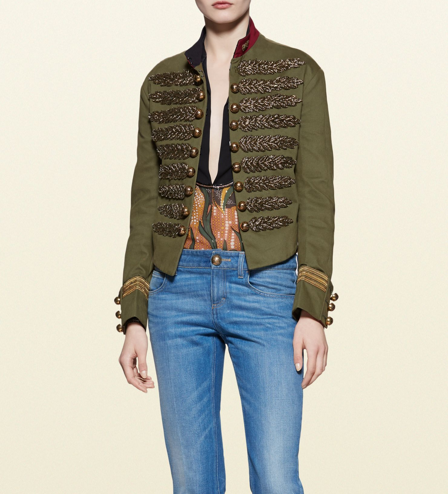 d6dbe29a8 Gucci - brushed cotton embroidered military jacket 380677ZEC503622 ...