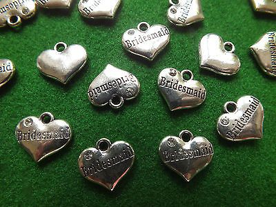 Bridesmaid charm heart with #rhinestone gem antique tibetan #silver - #wedding gi,  View more on the LINK: http://www.zeppy.io/product/gb/2/291548123389/